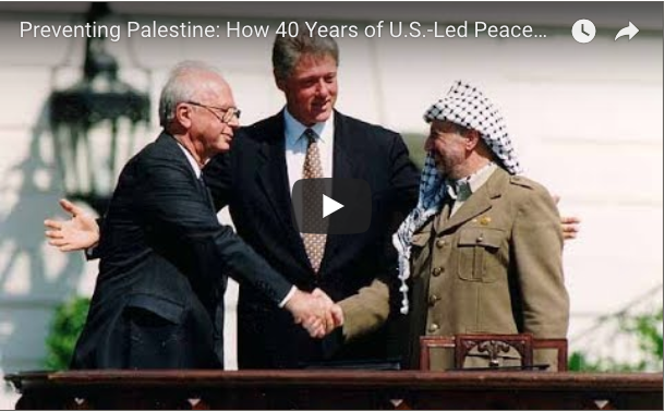 President Clinton welcomes Rabin and Arafat to the White House.