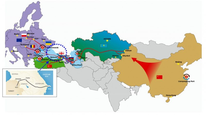 Chinas belt and road initiative bri and turkeys middle corridor source compiled from titr association and azerbaijan state news agency maps gumiabroncs Choice Image