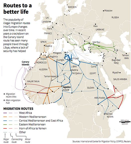 Numbered Map Of Africa.Morocco S Triple Role In The Euro African Migration System Middle