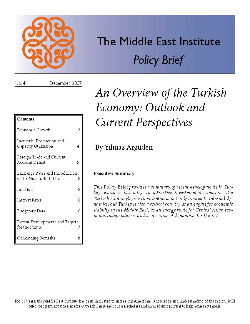 An Overview of the Turkish Economy: Outlook and Current Perspectives