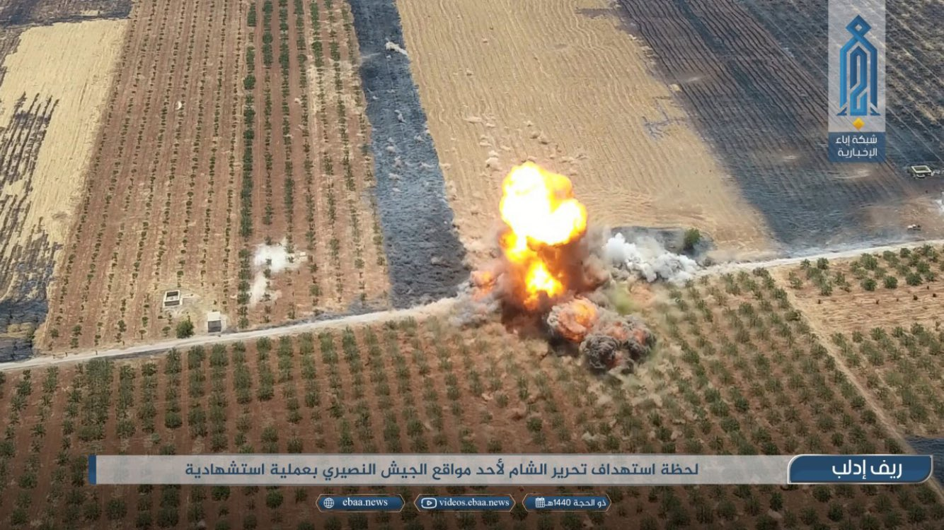 HTS drone footage shows an SVBIED detonating next to a group of loyalist fighters near Sukayk on Aug. 15, 2019.