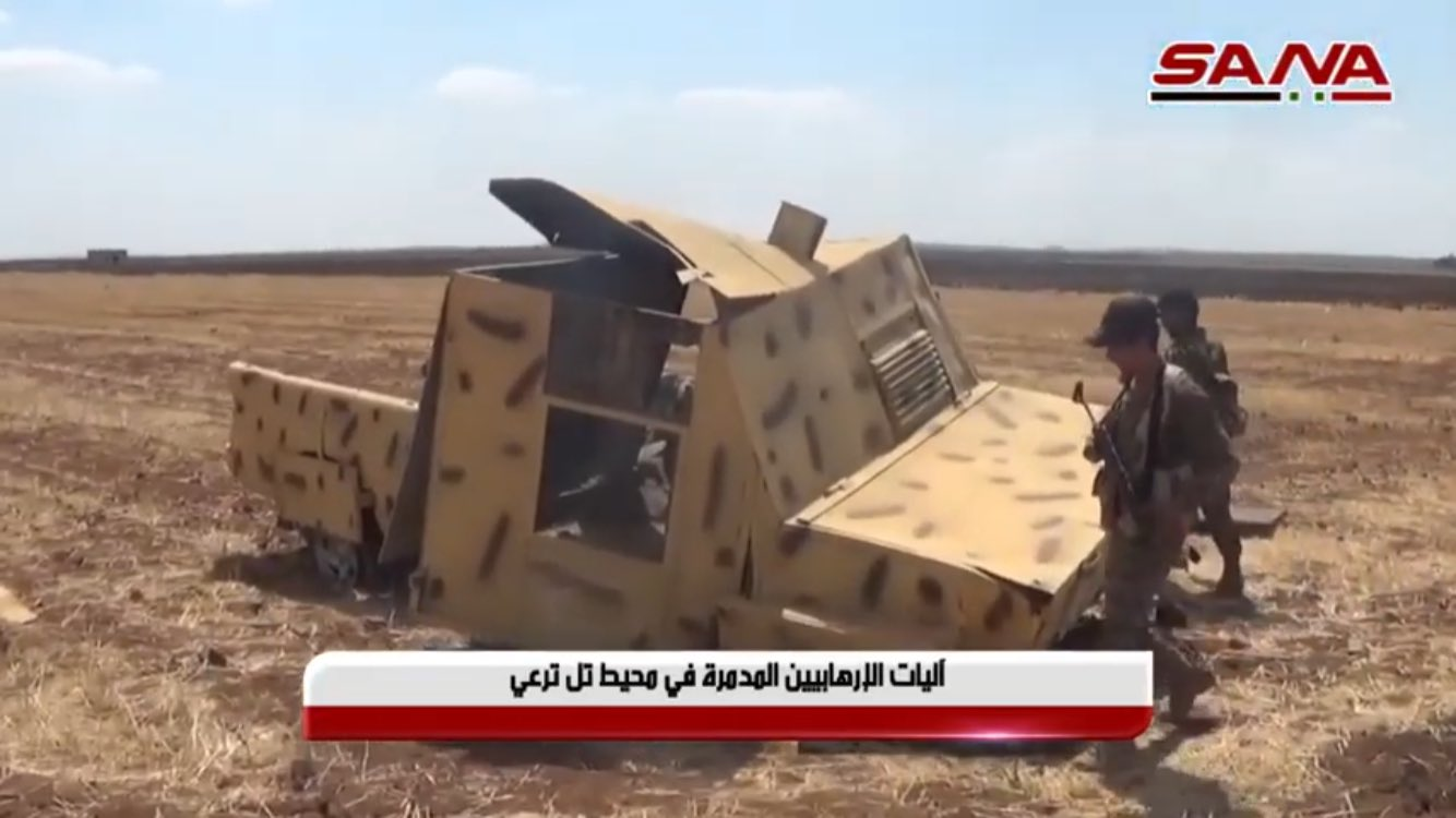 A disabled HTS up-armored SVBIED in a field south of Tell al-Tarei on Aug. 22-23, 2019. Seen here on Syrian state media.