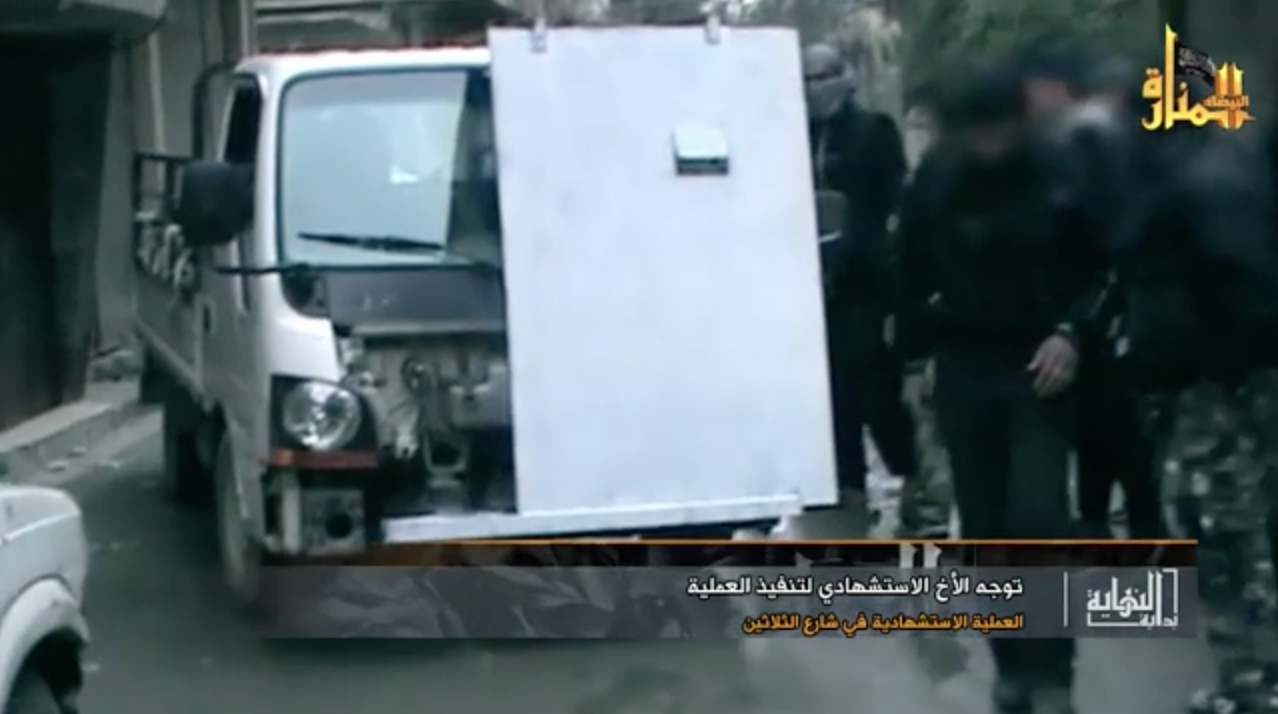 An up-armored SVBIED based on a flatbed truck used by JaN against a Syrian loyalist target in Damascus on Feb. 6, 2013.
