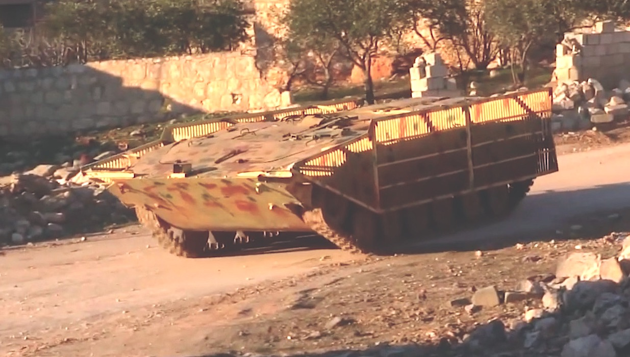 An up-armored BMP-1 SVBIED used against a loyalist position in al-Zahraa district of western Aleppo on Feb. 1, 2020