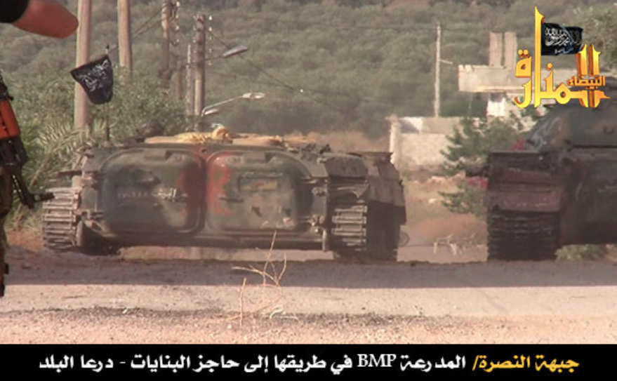 An SVBIED based on a BMP-1 used by JaN against a Syrian loyalist target in Daraa on June 27, 2013.