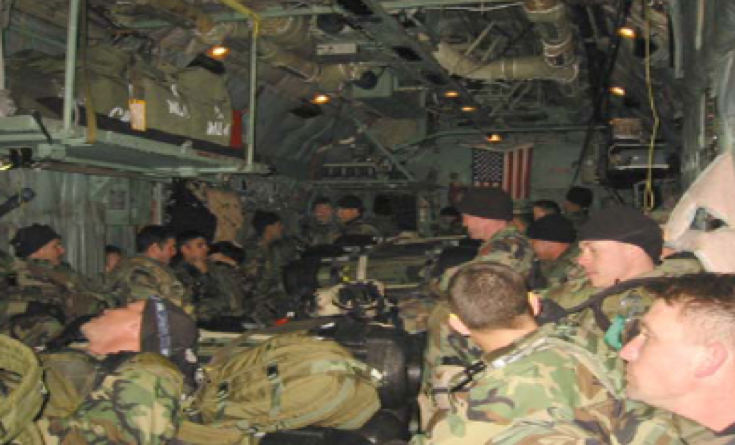 Photo above: Air infiltration via MC-130 from Jordan, March 22, 2003.
