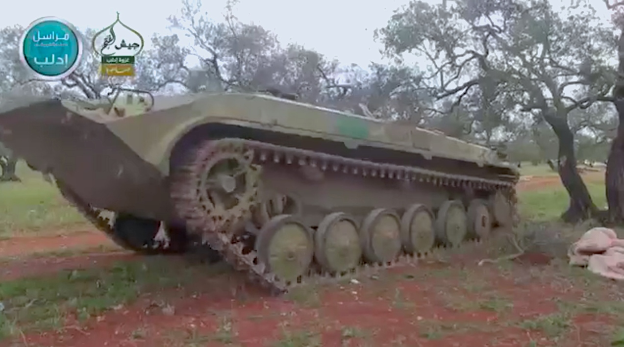 A BMP-1 SVBIED used by JaN during the capture of al-Qormid military base in Idlib Province on April 22, 2015.