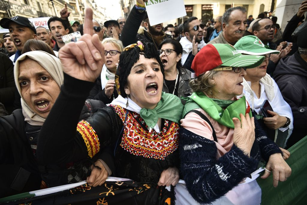 Algerian protesters take part in an anti-government demonstration in the capital Algiers on January 3, 2020.