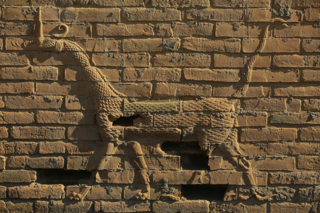 A general view of 'Mushussu' or the Babylonian Dragon on the rebuilt walls of Babylon.