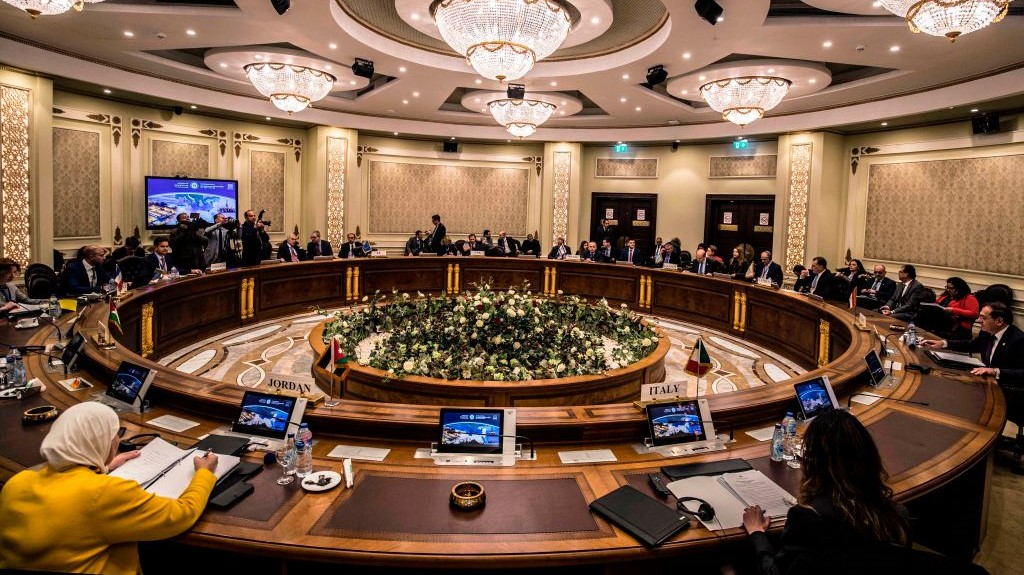 Delegations from Egypt, Israel, Cyprus, Italy, the Palestinian Authority, Jordan, France, the US and Greece attend the East Mediterranean Gas Forum (EMGF), in Cairo on January 16, 2020. (Photo by KHALED DESOUKI/AFP via Getty Images)
