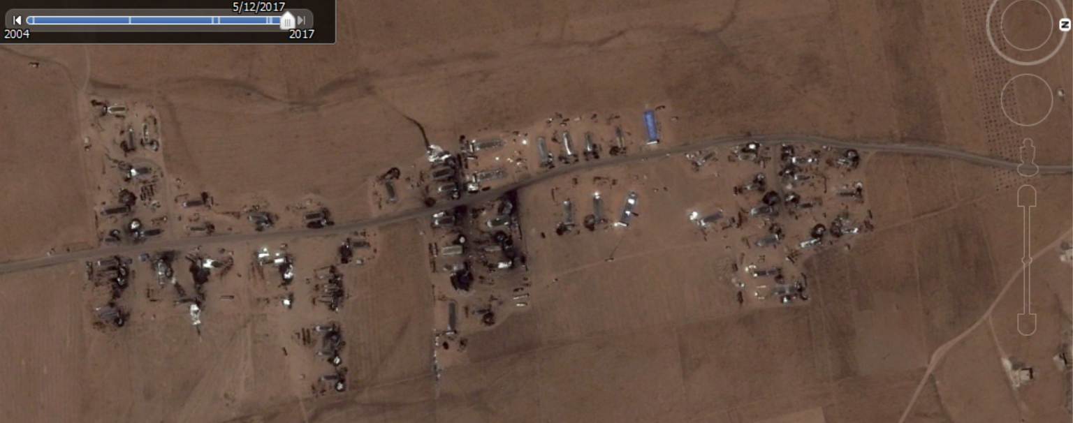 Figure 6: Makeshift oil refineries south of Um Routha, as seen on May 11, 2017.