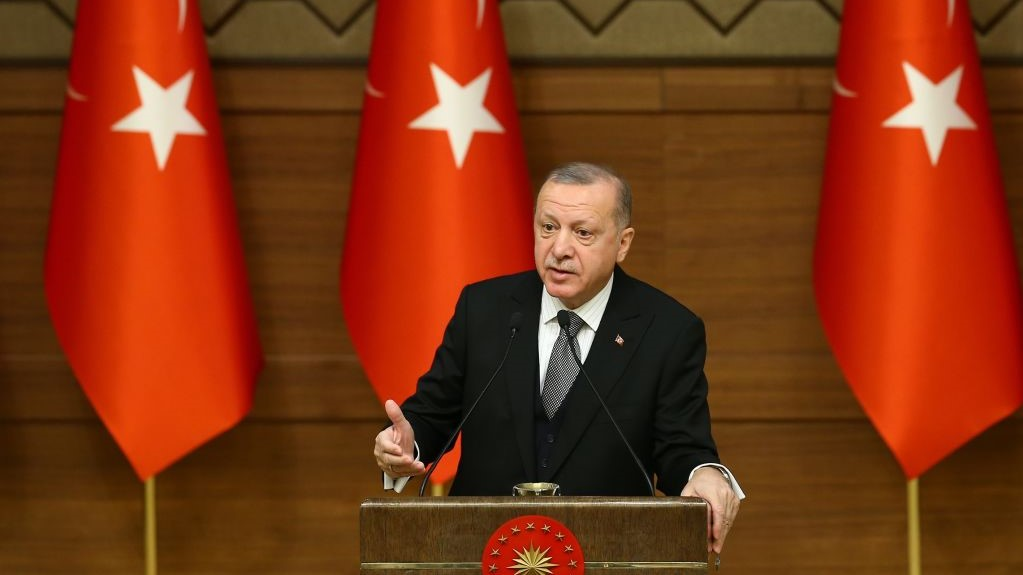 Turkish President Recep Tayyip Erdogan makes a speech as he attends the Symposium on Urban Security at the Presidential Complex in Ankara, Turkey on January 02, 2020.