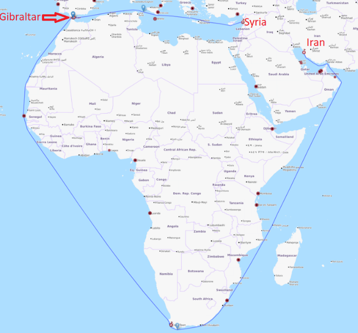 Figure 3: A map illustrating the route taken by Grace 1 in July 2019