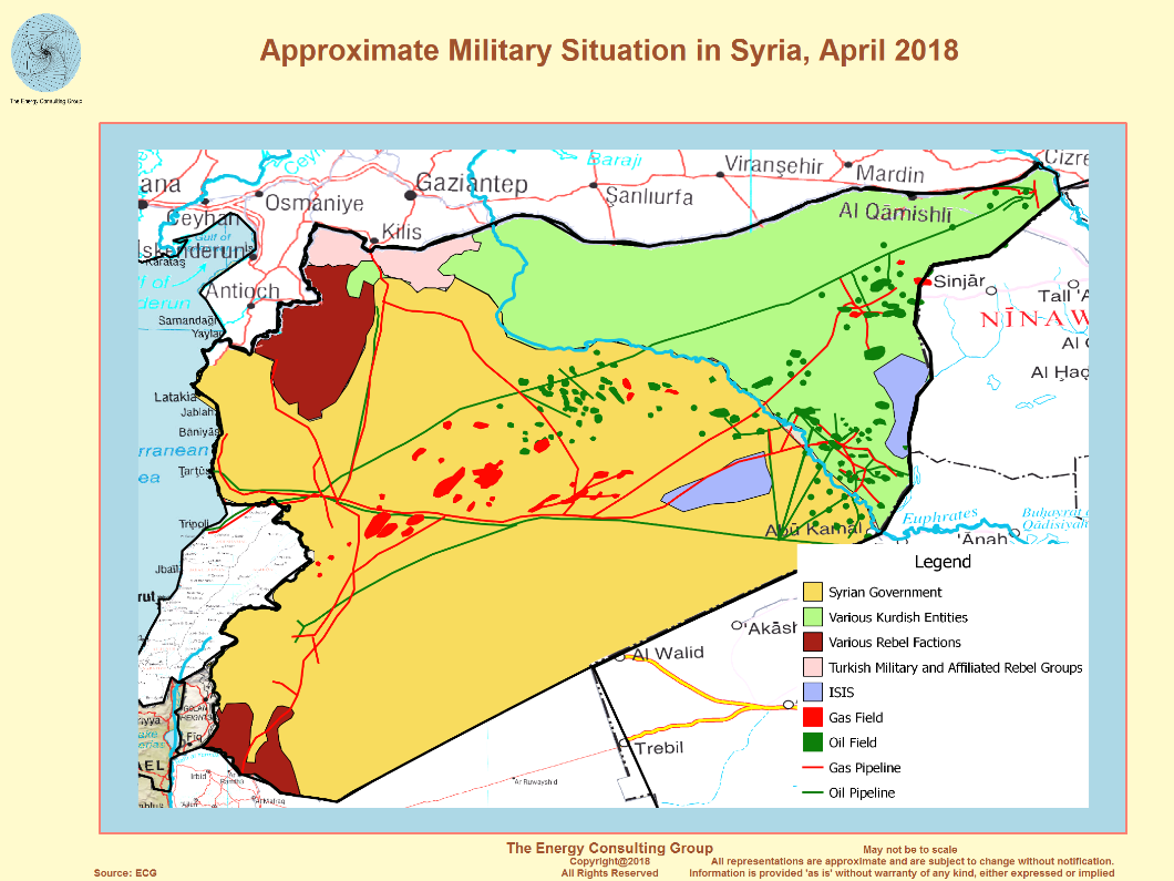 Figure 4: Syria energy sources and military control as of April 2018.