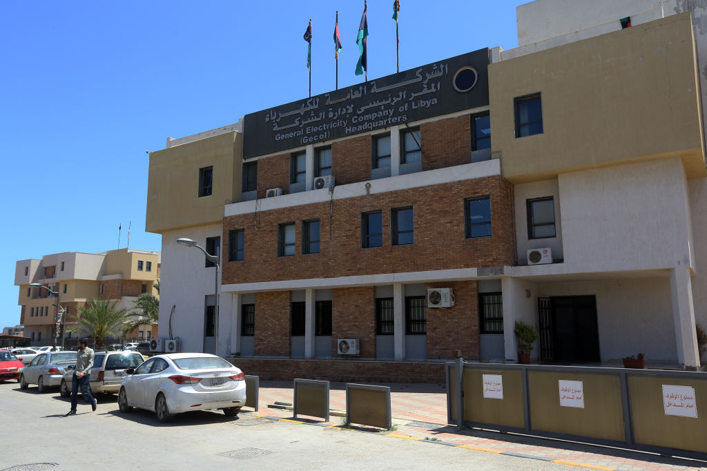 The headquarters of the General Electricity Company of Libya in Tripoli, on May 23, 2019. - Libya has faced chronic electricity shortages since 2011, particularly during the cold of winter and the searing heat of summer.