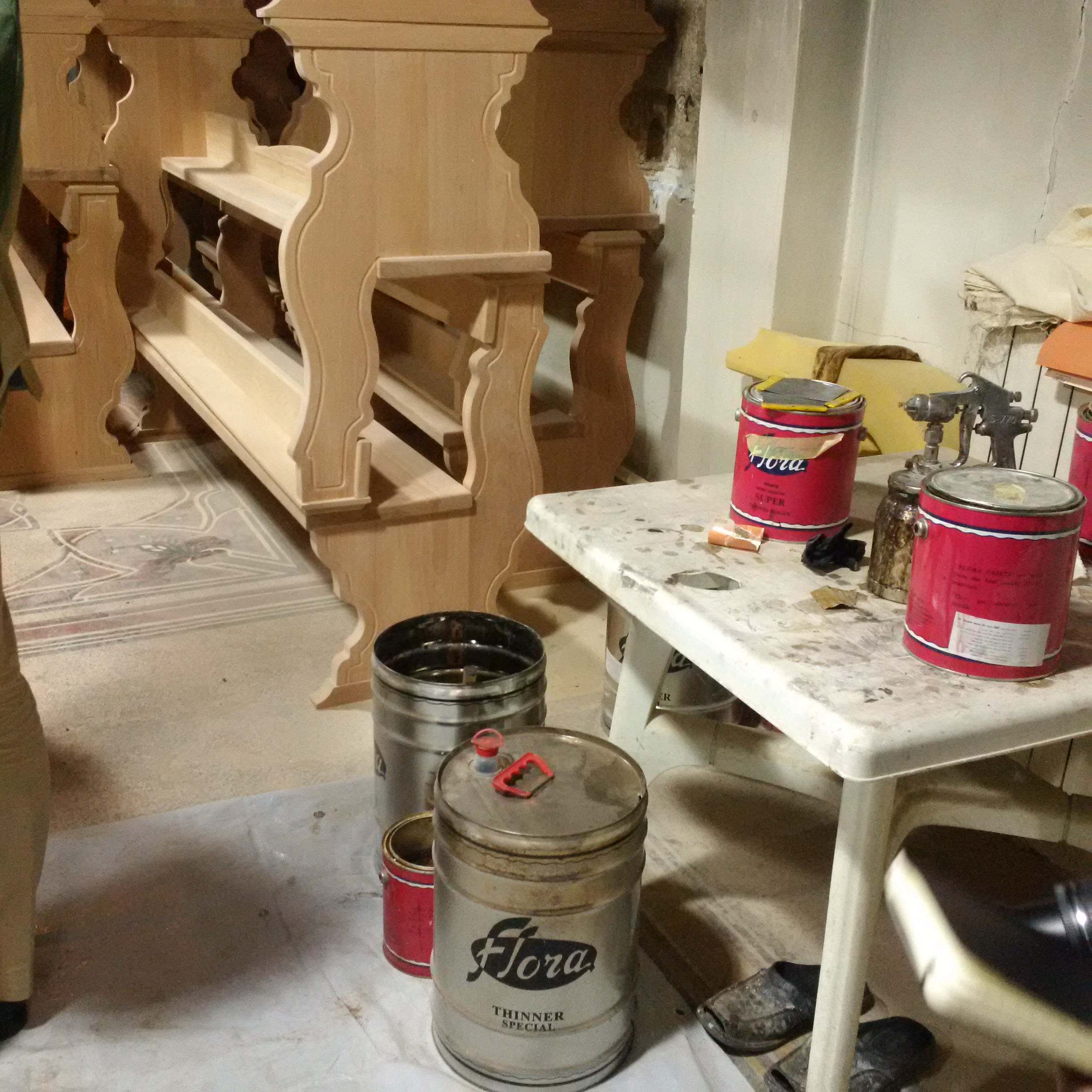 Newly made church pews in Homs about to be varnished.