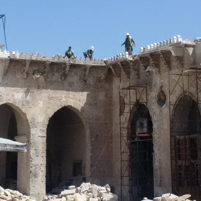 Aleppo's Umayyad Mosque under restoration, funded by Chechnya's Ramzan Kadyrov, a key ally of Russia's Putin.
