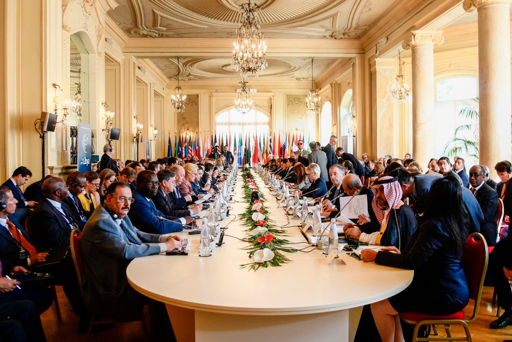 Heads of State, ministers and special envoys attend on November 13, 2018 an international conference on Libya at Villa Igiea in Palermo.