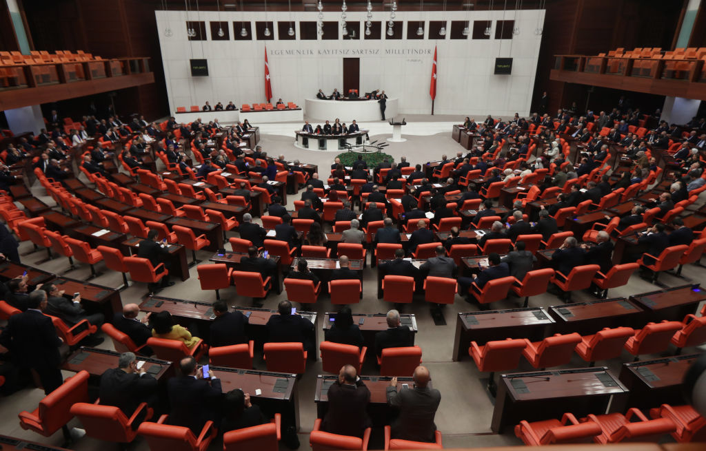Turkish members of parliament vote to send Turkish troops to Libya, in Ankara, on January 02, 2020.