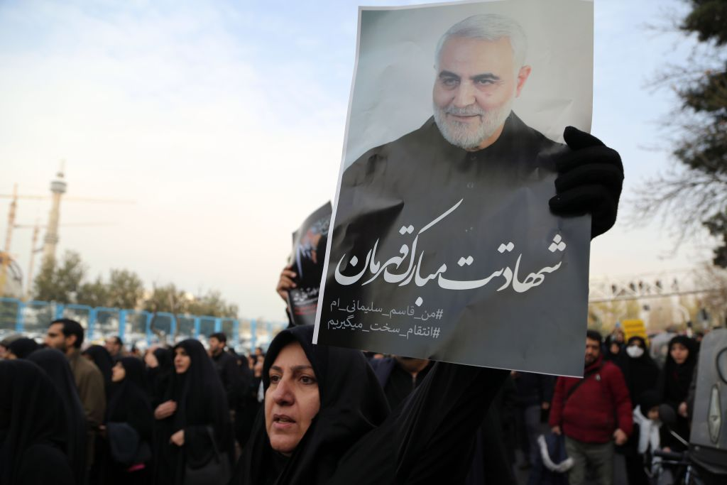 People gather to stage a protest against the killing of Iranian Revolutionary Guards' Quds Force commander Qasem Soleimani by a US air strike in the Iraqi capital Baghdad, after Friday prayer in Tehran, Iran on January 3, 2020.