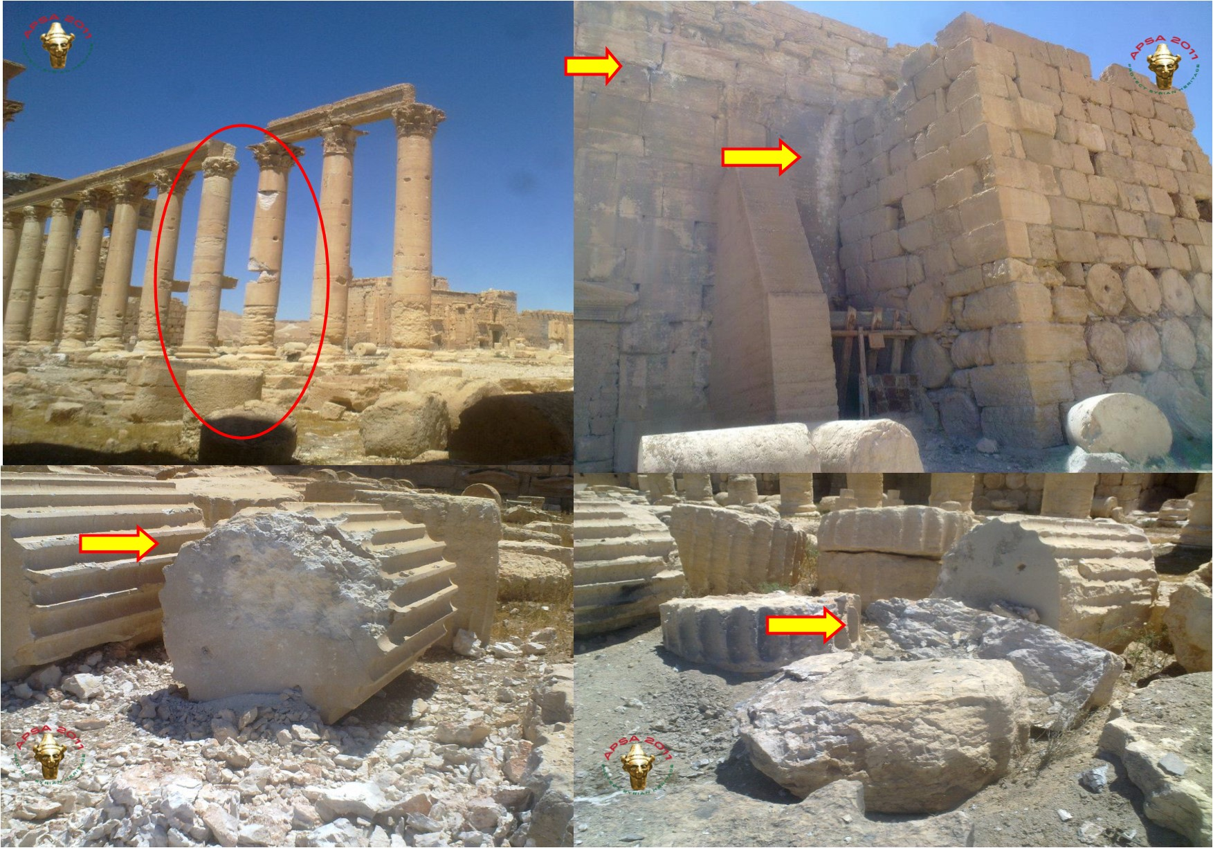 Damage to Temple of Bel by regime occupation, photo courtesy of APSA.