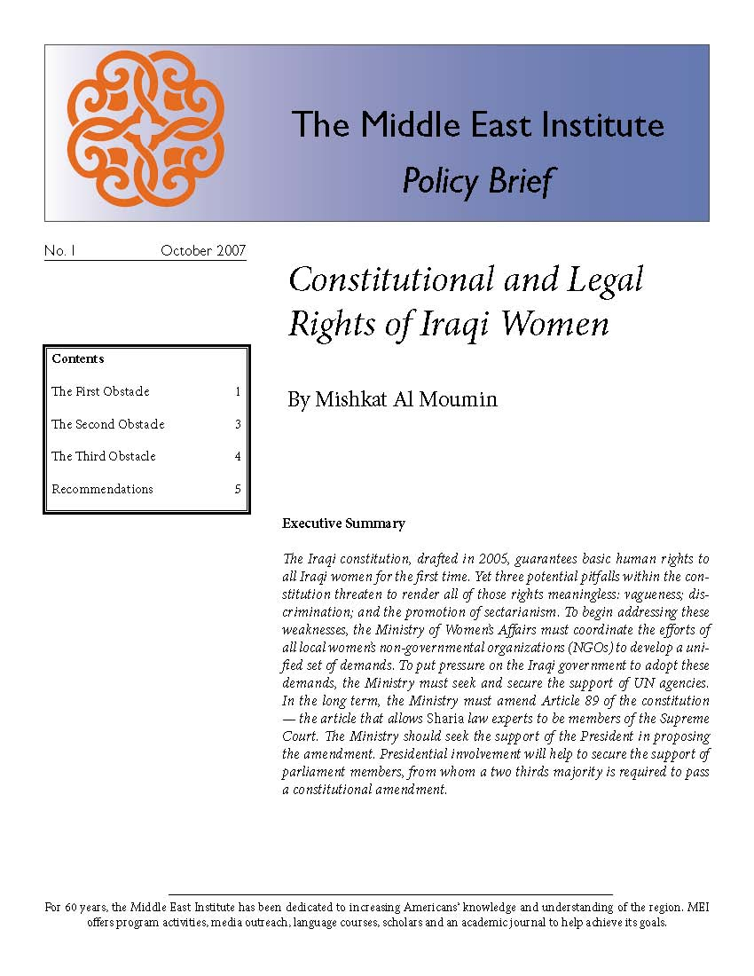 Constitutional and Legal Rights of Iraqi Women