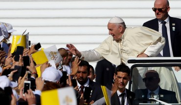 Pope Francis arrives to celebrate Mass at Zayed Sport City on February 5, 2019 in Abu Dhabi, United Arab Emirates.