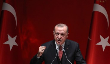Turkish President Recep Tayyip Erdogan addresses a meeting of provincial election officials at the headquarters of his ruling AK Party in Ankara on January 29, 2019.
