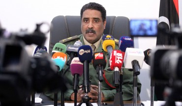 Brigadier Ahmed al-Mesmari, spokesman of the self-proclaimed Libyan National Army loyal to Khalifa Haftar, speaks during a press conference in his office in Benghazi on April 8, 2019.