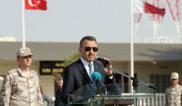 Turkish Vice President Fuat Oktay makes a speech during his visit at the Qatari-Turkish Armed Forces Land Command Base in Doha, Qatar on March 27, 2019.