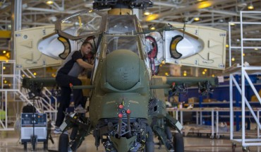 Staff of Turkish Aerospace Industries Inc. works on a helicopter in Ankara, Turkey on July 13, 2018.