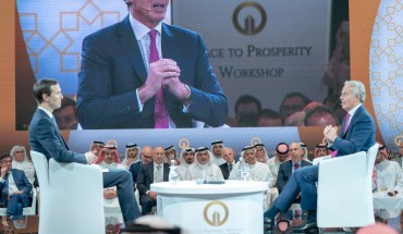 "US-led economic conference in Bahrain MANAMA, BAHREIN - JUNE 26: Former British Prime Minister Tony Blair (R) and Jared Kushner (L), U.S. President Donald Trumps senior White House adviser and son-in-law attend U.S.-led workshop in Manama, Bahrain on June 26, 2019. U.S.-led conference opened in Bahrain on Tuesday, during which U.S. officials are expected to unveil the economic portion of the American back-channel Middle East peace plan known as ""deal of the century"". (Photo by BNA - Pool/Anadolu Agency/Gett"