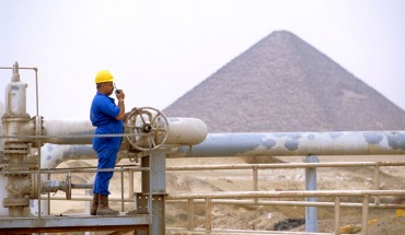 Worker at a gas refinery in the Western Desert, Egypt