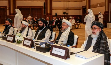Afghan Taliban delegation attends the Intra Afghan Dialogue talks in the Qatari capital Doha on July 7, 2019.