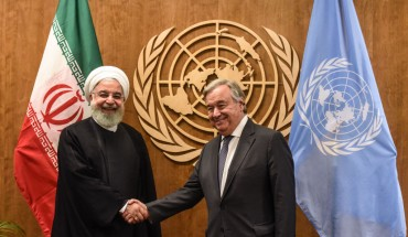 The President of Iran Hassan Rouhani shakes hands with UN Secretary-General António Guterres during the United Nations General Assembly at the United Nations on September 25, 2019 in New York City.