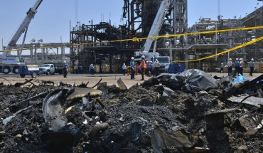 A destroyed installation in Saudi Arabia's Khurais oil processing plant is pictured on September 20, 2019.