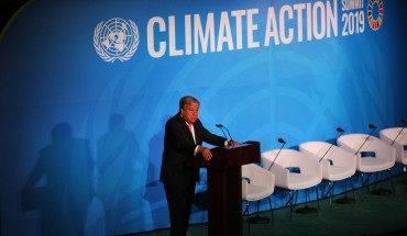 U.N. Secretary-General Antonio Guterres speaks at the at a summit to address climate change at the U.N. on September 23, 2019 in New York City.
