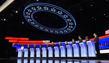 The fourth Democratic primary debate of the 2020 presidential campaign season co-hosted by The New York Times and CNN at Otterbein University in Westerville, Ohio on October 15, 2019.
