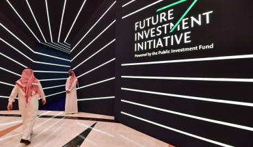 A man arrives to the Future Investment Initiative (FII) conference in the Saudi capital Riyadh on October 24, 2018.