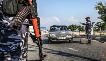 Security forces loyal to Palestinian Islamist movement Hamas stop a vehicle at a checkpoint in Khan Yunis in the southern Gaza Strip on August 28, 2019.