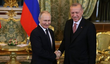 Russian President Vladimir Putin (L) greets Turkish President Recep Tayyip Erdogan (R) during their bilateral talks at the Grand Kremlin Palace on April 8, 2019 in Moscow, Russia.