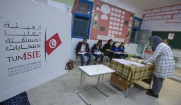 Returning officers count the votes at a polling station after voting for parliamentary elections has ended in Tunis, Tunisia on October 06, 2019.