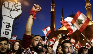 Anti-government activists take part in a protest in downtown Beirut, demonstrations across Lebanon entered its 2nd months.