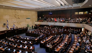 A picture taken on October 3, 2019 shows a general view of the plenum during the swearing-in ceremony at the Knesset in Jerusalem. - Israel's parliament was sworn in today without a new government formed as a deadlocked general election left Netanyahu scrambling to find a path to extend his long tenure in power.