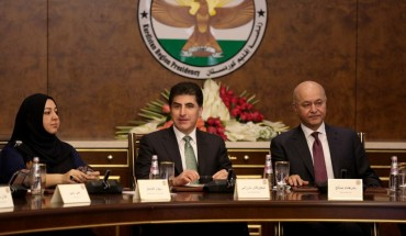 President of Iraqi Kurdish Regional Government (KRG), Nechirvan Barzani (C), President of Iraq Barham Salih (R) and Speaker of the parliament Rewaz Faiaq (L) attend a meeting on the current developments in Iraq on November 05, 2019 in Erbil, Iraq.