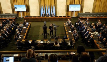 Syrian Constitutional Committe, made up of opposition, civil society and regime members gather in Geneva, Switzerland on October 30, 2019 with the UN's facilitation.