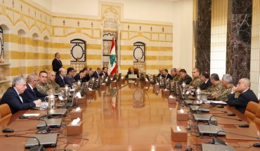 "President of Lebanon Michel Aoun, Lebanese President Saad Hariri, Lebanese Army Commander Joseph Aoun and other ministers and officials attend Lebanon's Higher Defense Council meeting on ""Lebanon's Security"" at Baabda Presidential Palace in Beirut, Lebanon on February 07, 2018."