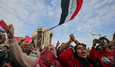 Iraqi Anti-government demonstrators protest in Tahrir Square in the capital Baghdad, on January 10, 2020.