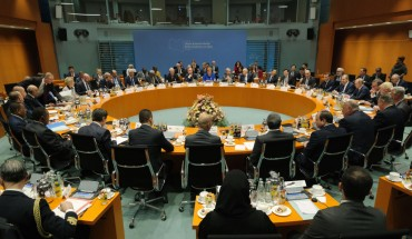 The main session at an international summit on securing peace in Libya at the Chancellery begins on January 19, 2020 in Berlin, Germany.