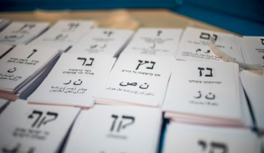 Ballots seen with the party names during the elections. Israel holds elections for the next Prime Minister.
